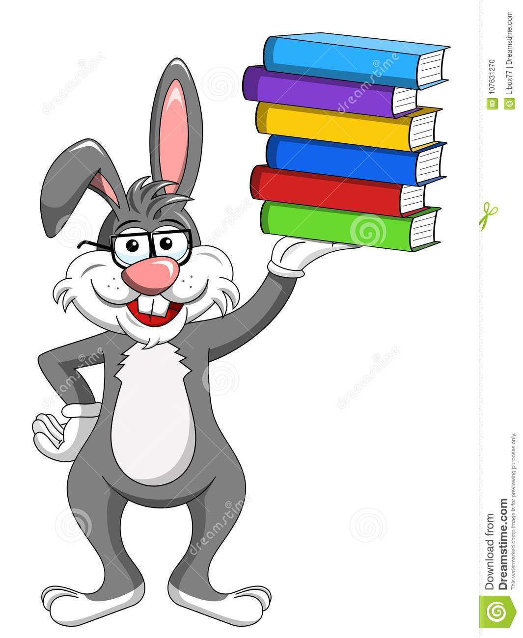 Bunny rabbit wearing glasses holding stack of books