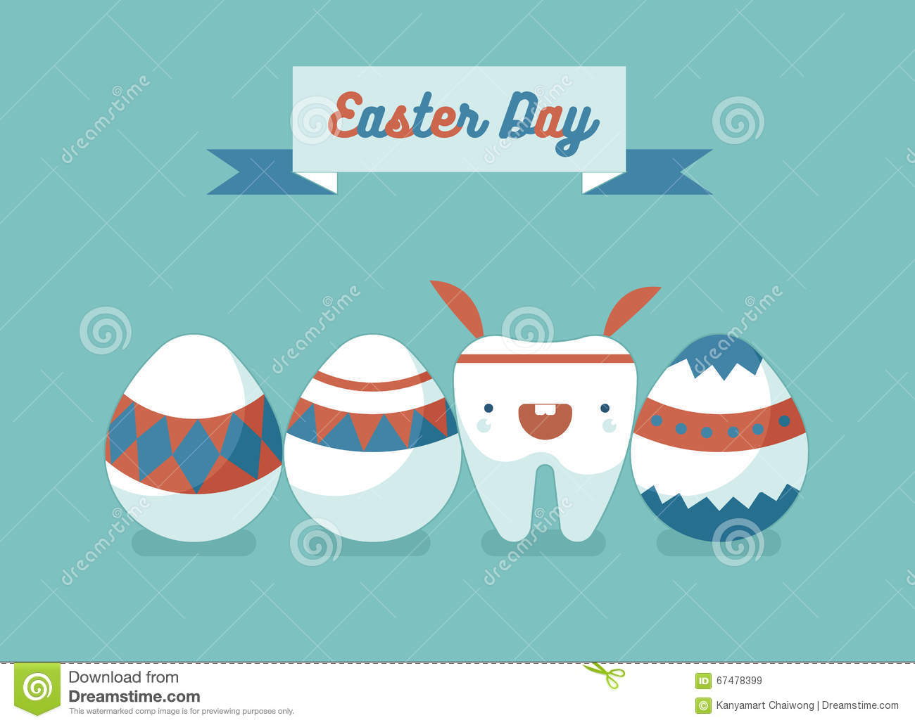 bunny tooth and eggs of easter day stock vector
