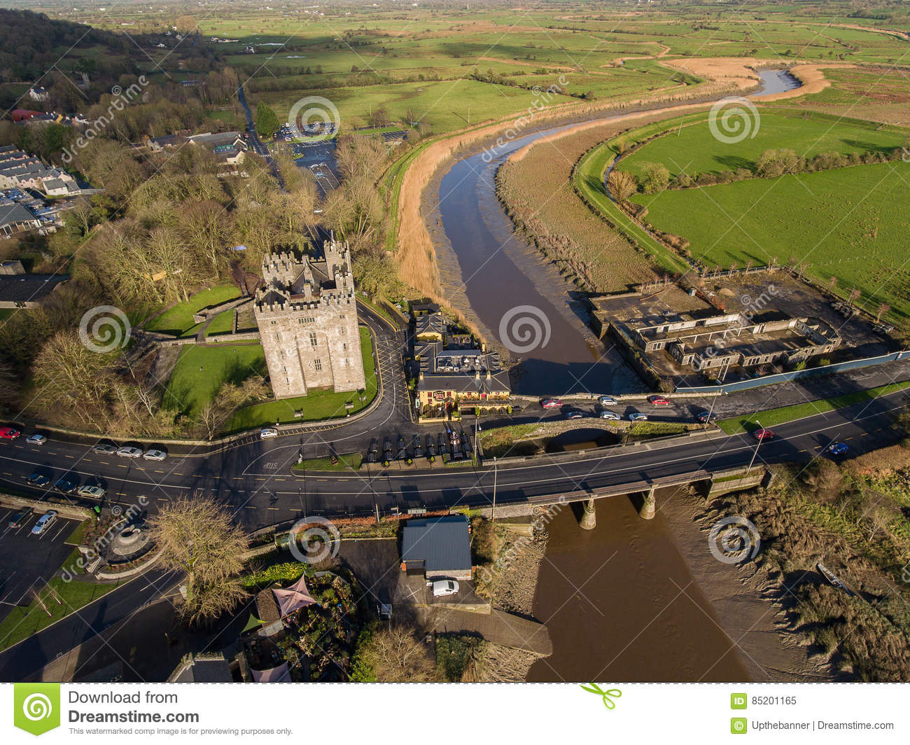Bunratty Castle and Durty Nelly`s Pub, Ireland - Jan 31st 2017: Aerial view of Ireland`s most famous Castle and Irish Pub.