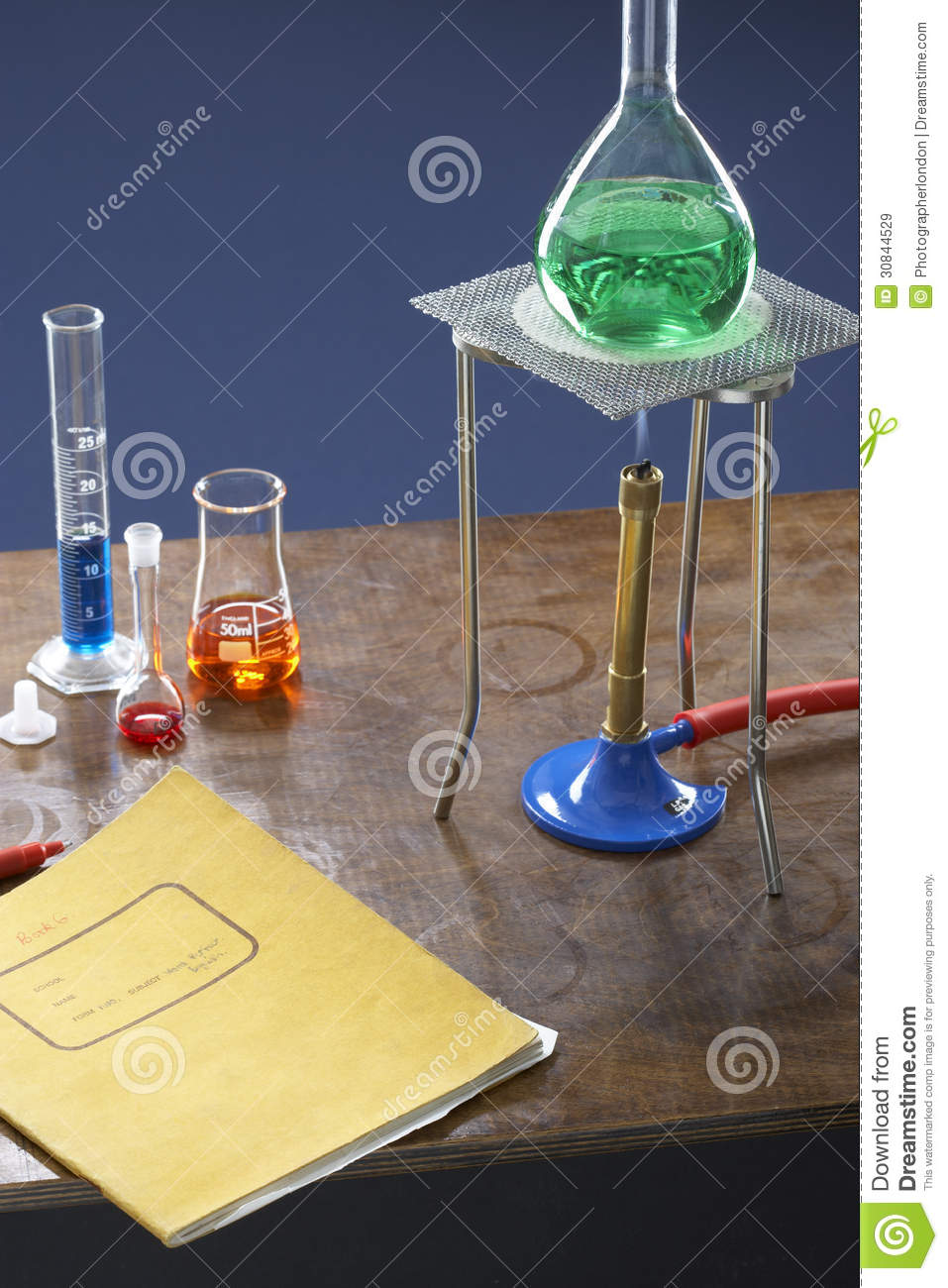 Bunsen Burner Tripod Flask And Test Tubes In Science