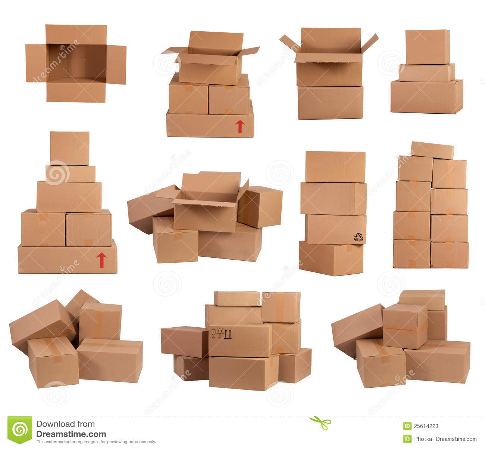 Buntar av kartonger