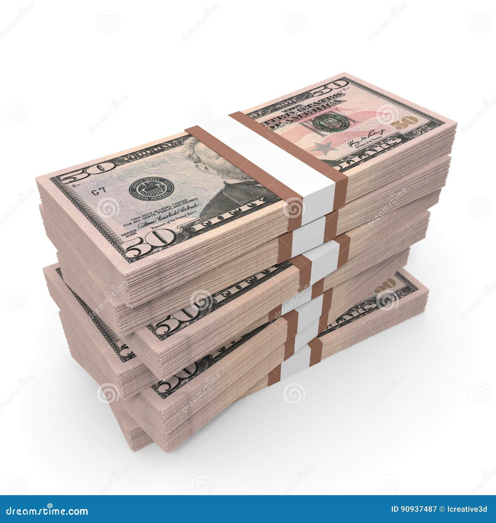 Buntar av pengar dollar femtio