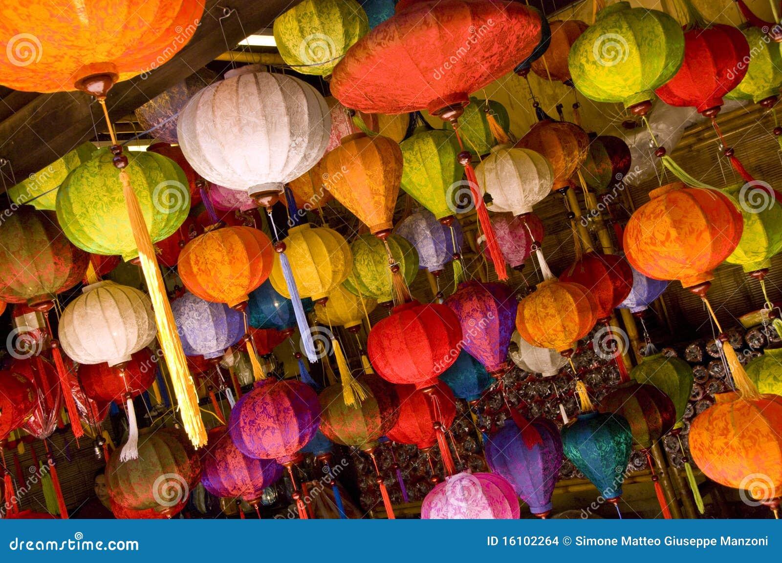 bunte asiatische lampen stockbilder bild 16102264. Black Bedroom Furniture Sets. Home Design Ideas
