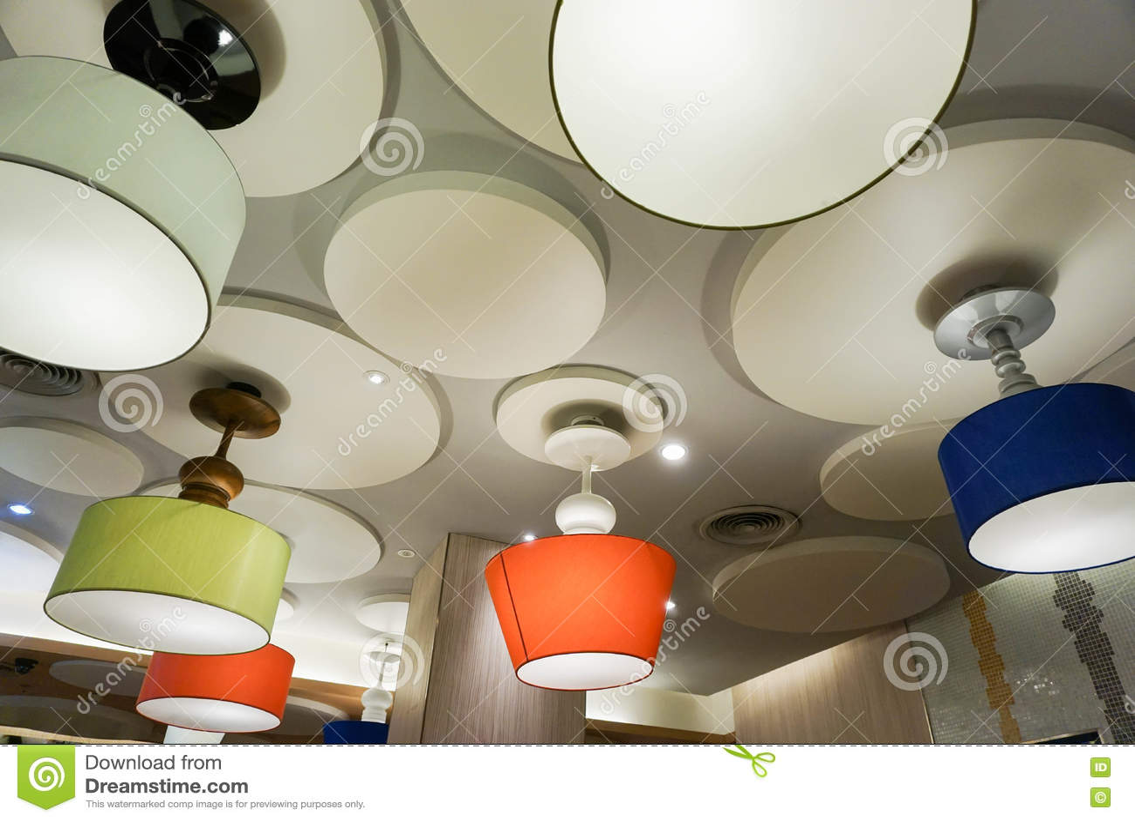 bunte deckenleuchten stockbild bild von dekoration. Black Bedroom Furniture Sets. Home Design Ideas