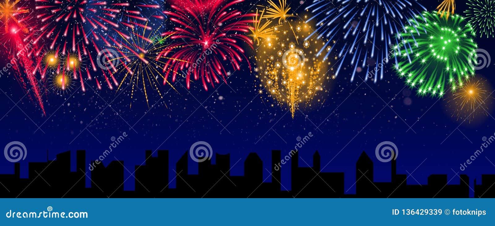 Bunte Feuerwerke über der Stadt, Fahne