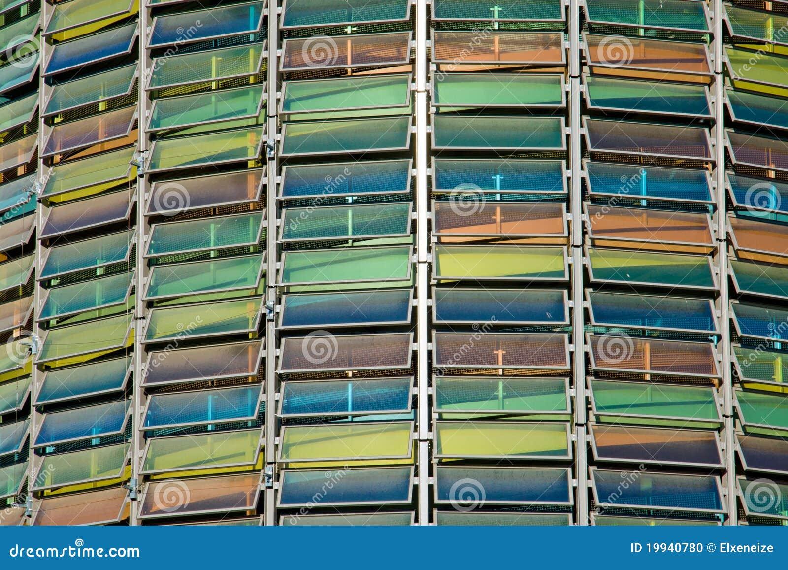 Glasfassade bunt  Bunte Glasfassade Stockfoto - Bild: 19940780