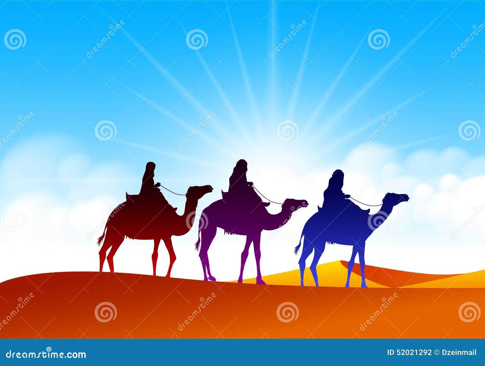 Bunte Gruppe arabische Leute mit Kamel-Wohnwagen