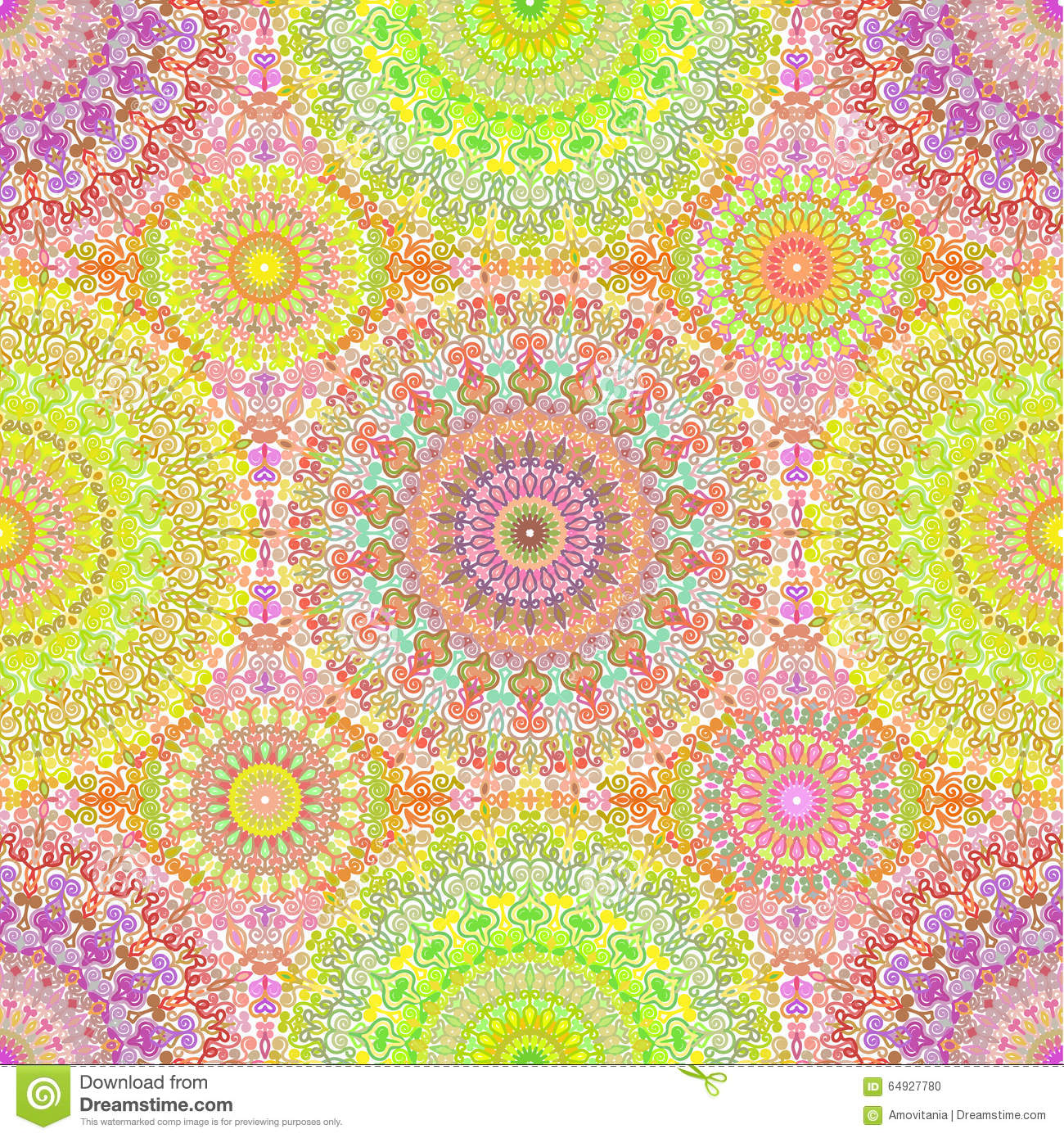bunte hippie mandala seamless pattern vektor abbildung bild 64927780. Black Bedroom Furniture Sets. Home Design Ideas