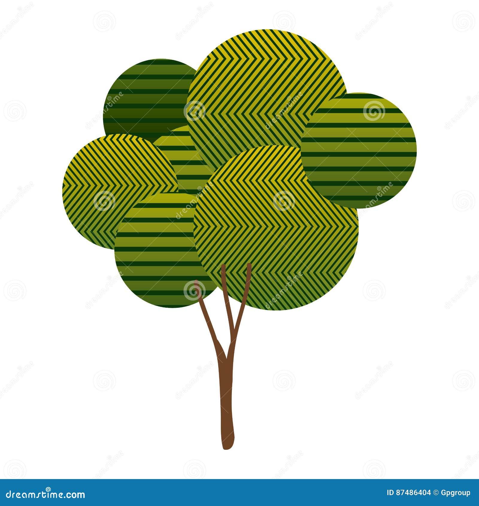 Bunte hohe belaubte Baumanlage mit abstrakten Linien und Verzweigungen
