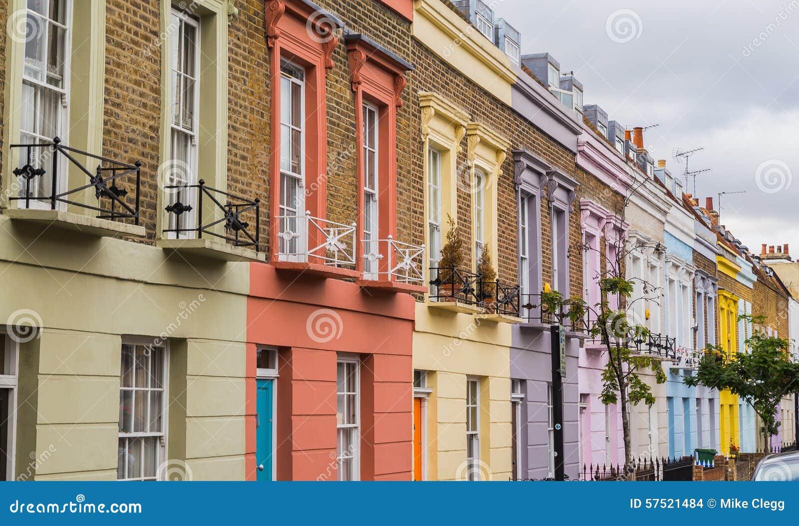 bunte h user entlang hartland stra e london redaktionelles stockbild bild 57521484. Black Bedroom Furniture Sets. Home Design Ideas