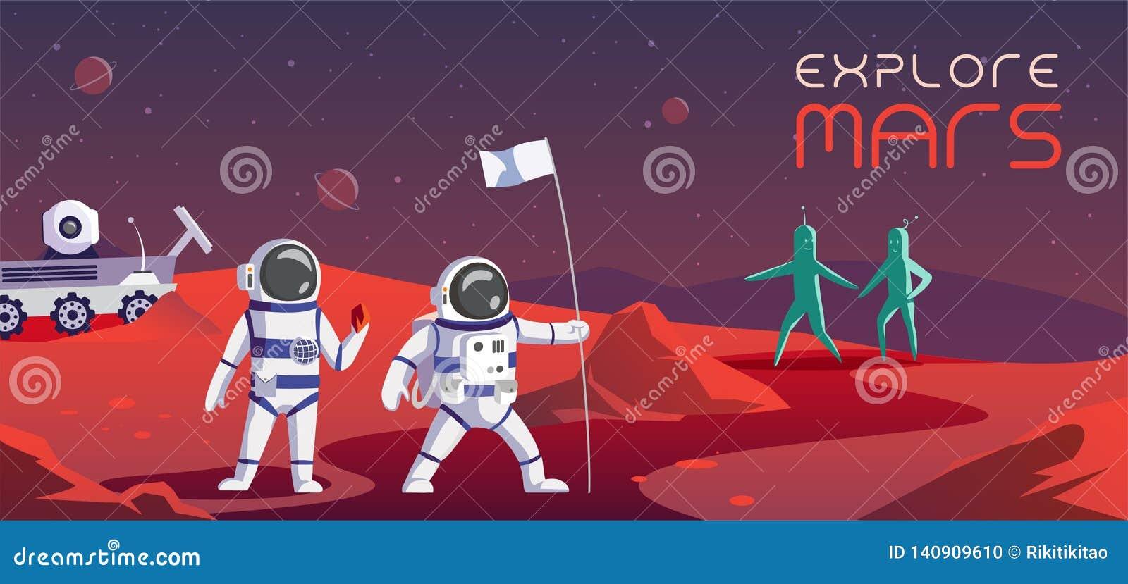 Bunte Illustration der Astronauten, die Mars erforschen