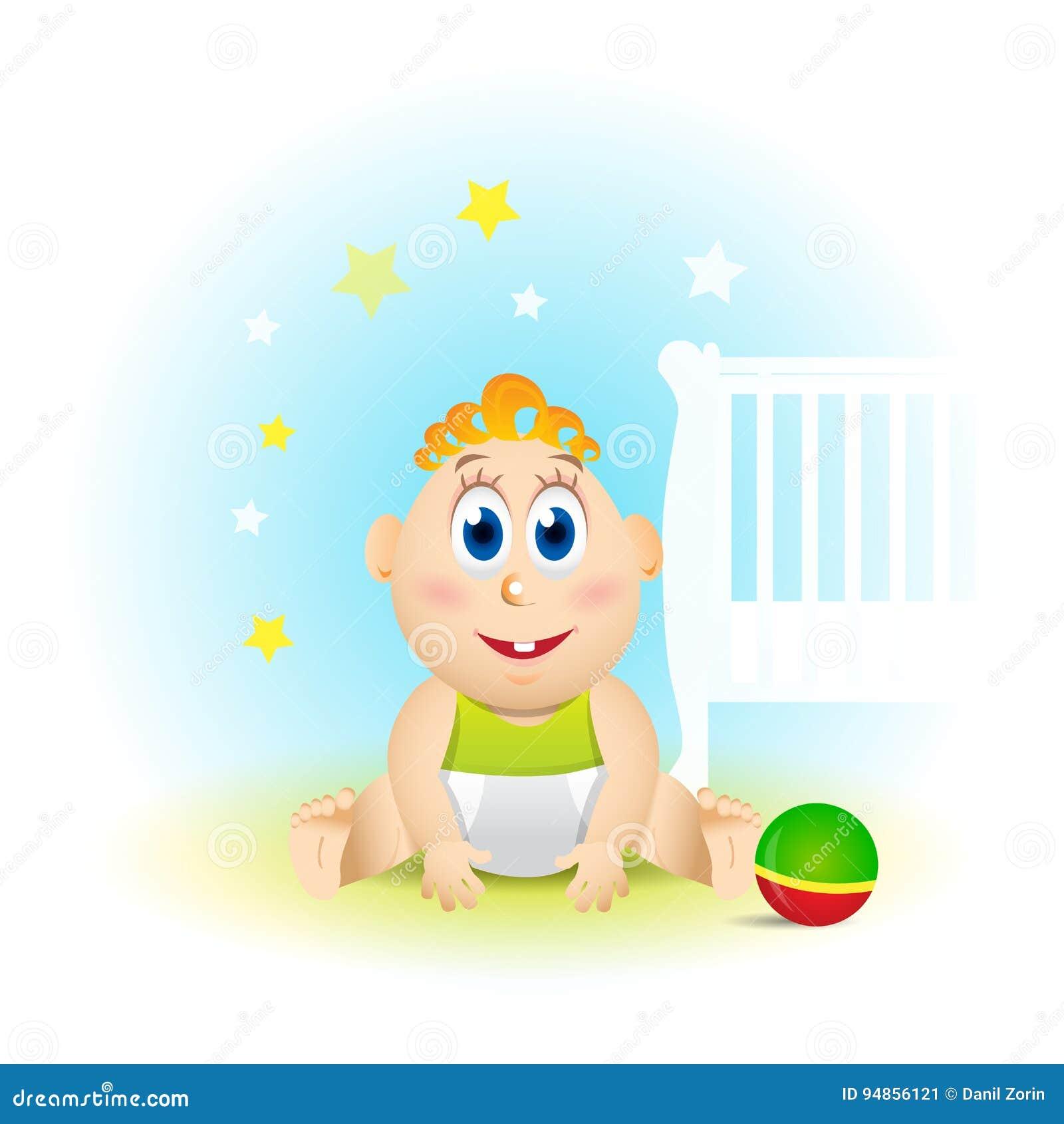 Bunte Illustration Eines Babys Baby Sitzt Und Lächelt Lustige