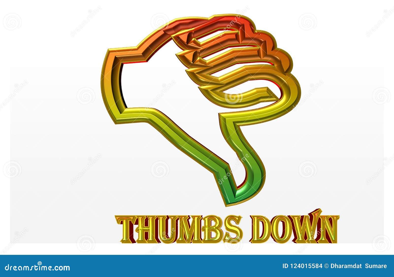 Bunte Illustration von ` Daumen unten ` mit goldener Linie der Gefahr