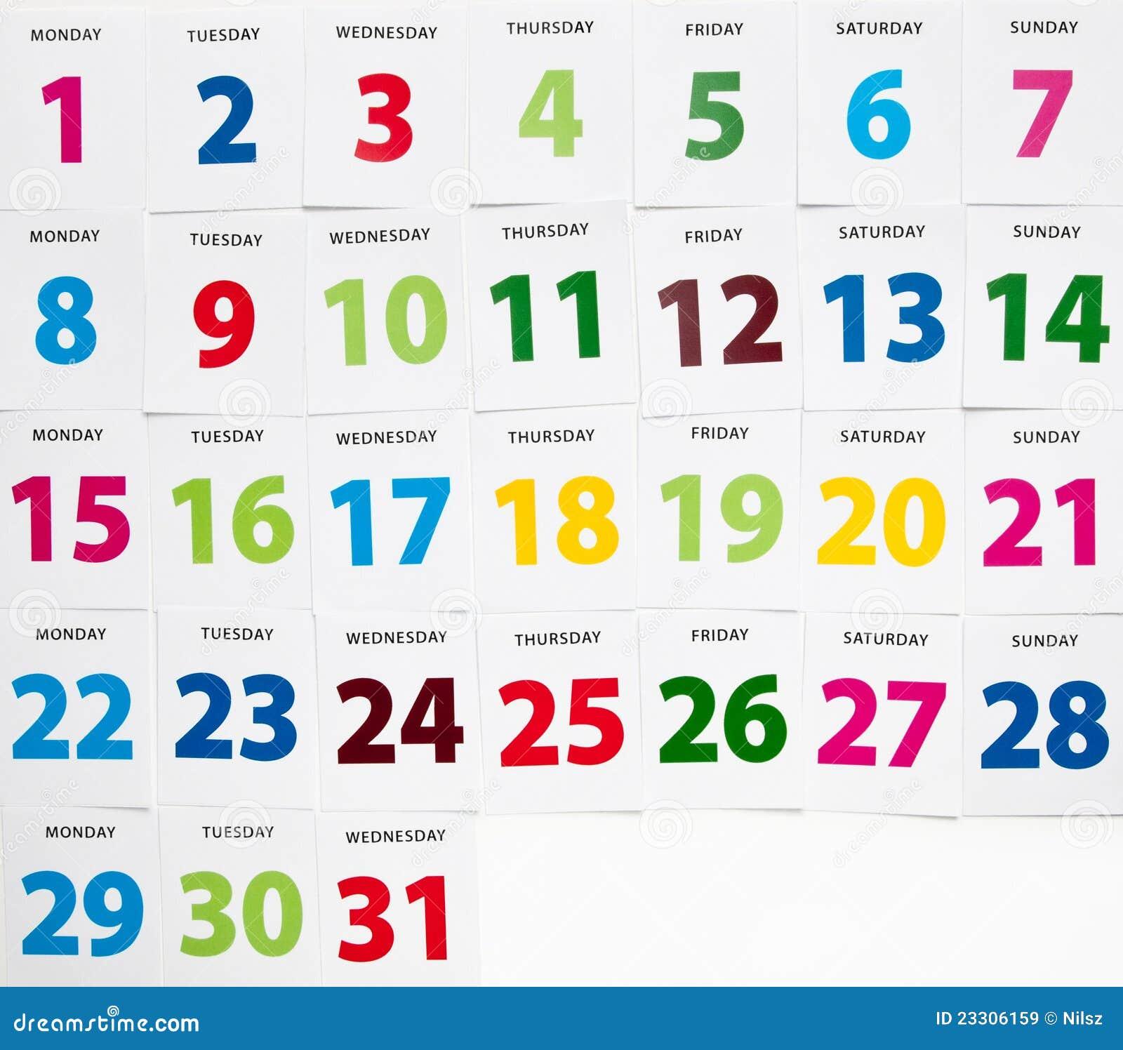 Bunte Kalendertage stockbild. Bild von fall, stichtag ...