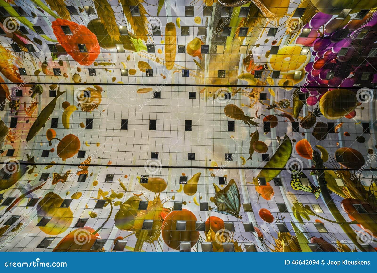 Bunte Markthalle Rotterdam Redaktionelles Stockbild Bild Von