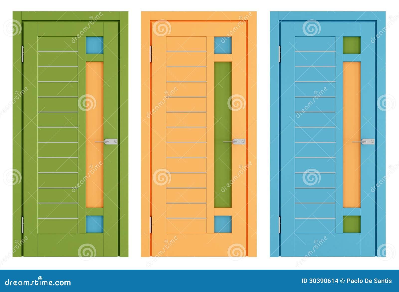 bunte moderne t ren auf wei stockbilder bild 30390614. Black Bedroom Furniture Sets. Home Design Ideas