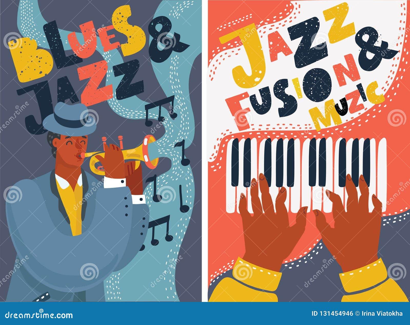 Bunte Plakate des Jazz- und Blaumusikfestivals
