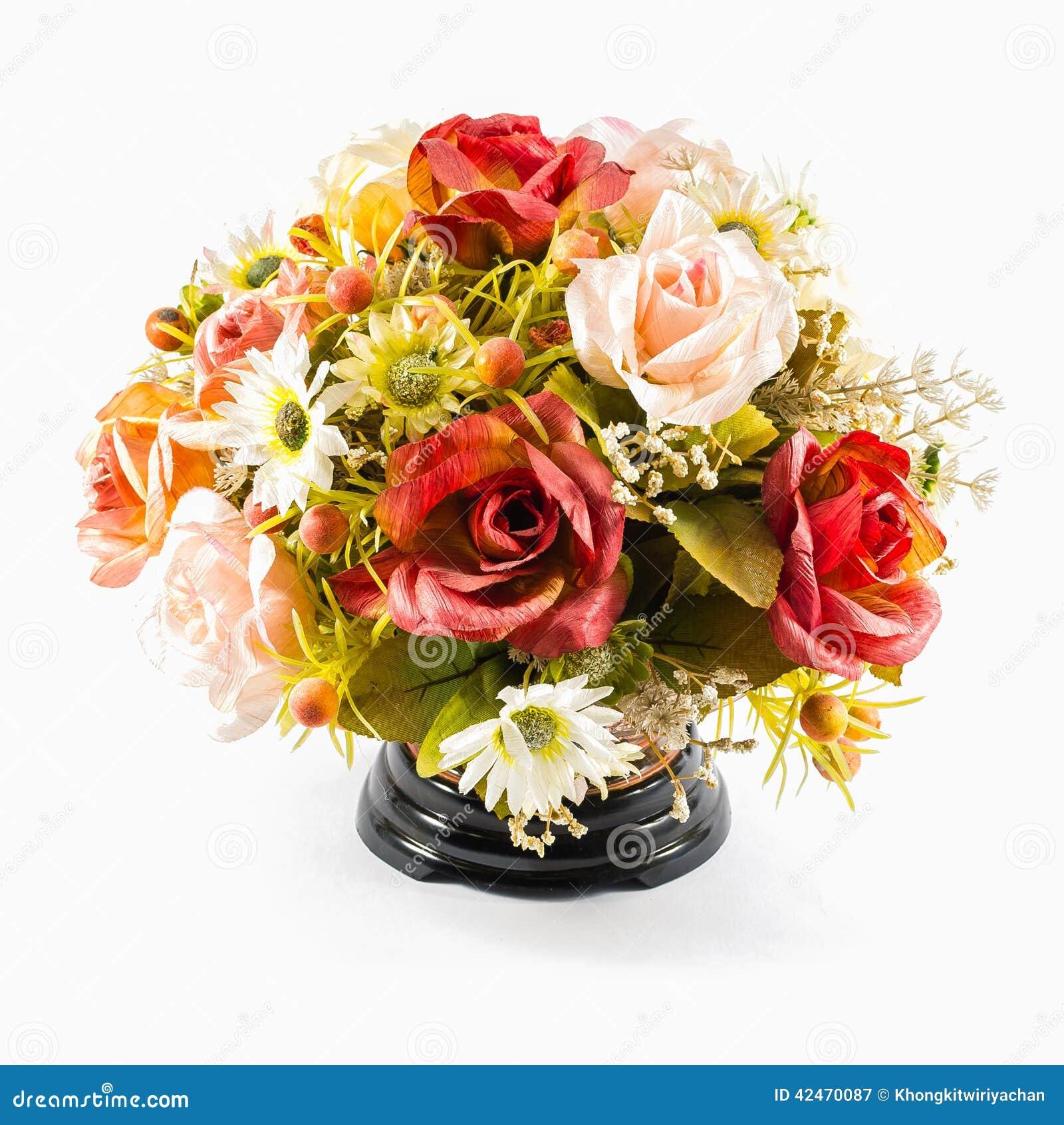 Bunte Plastikblume im Vase