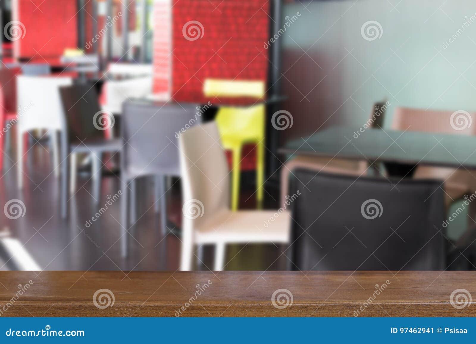Bunte Plastiktabelle Und Stuhl In Der Cafeteria Restaurant Café