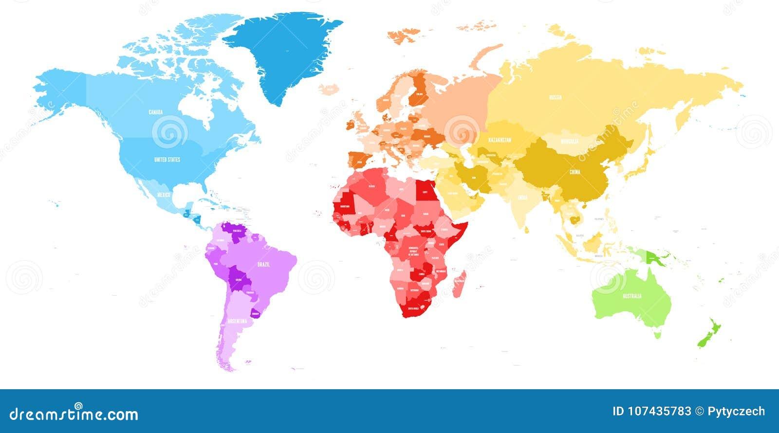 Bunte politische Karte der Welt teilte in sechs Kontinent mit Ländernameaufklebern unter Vektorkarte im Regenbogenspektrum
