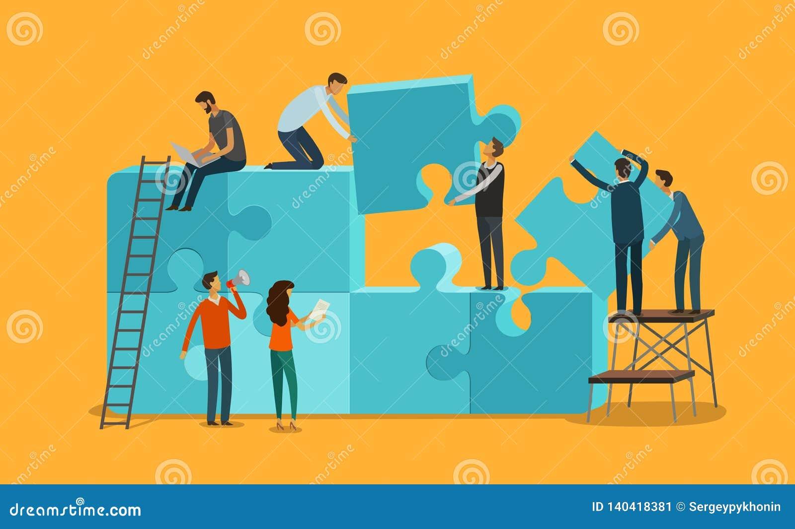 Bunte Puppen auf schwarzem Hintergrund Geschäft, Teamwork infographics Stücke einer Puzzlespielvektorillustration