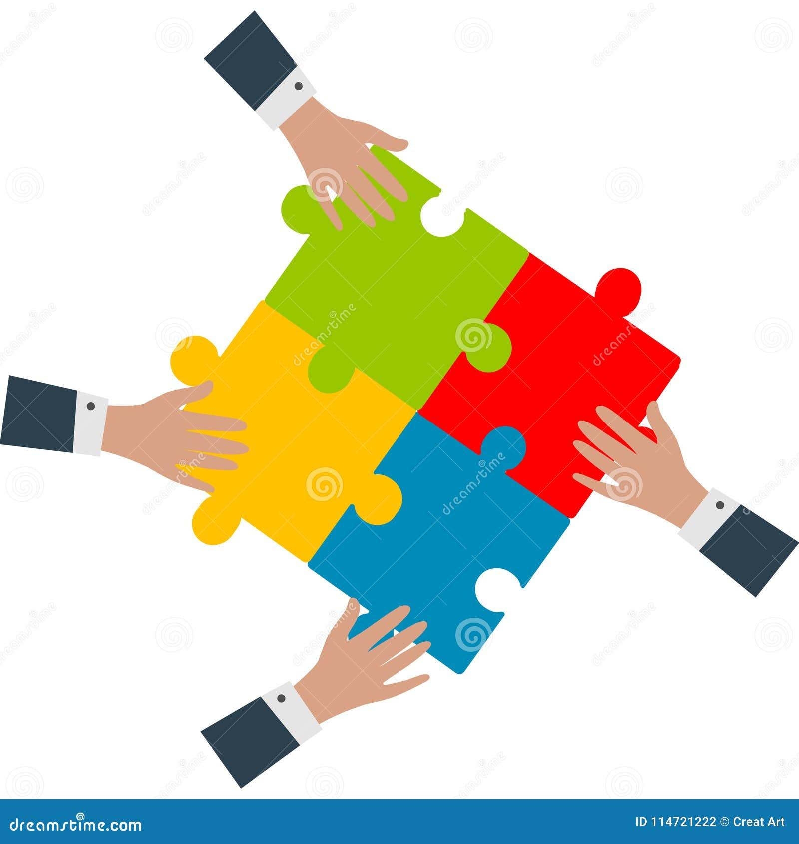 Bunte Puppen auf schwarzem Hintergrund Hände, die Puzzlespielvektor zusammenbauen