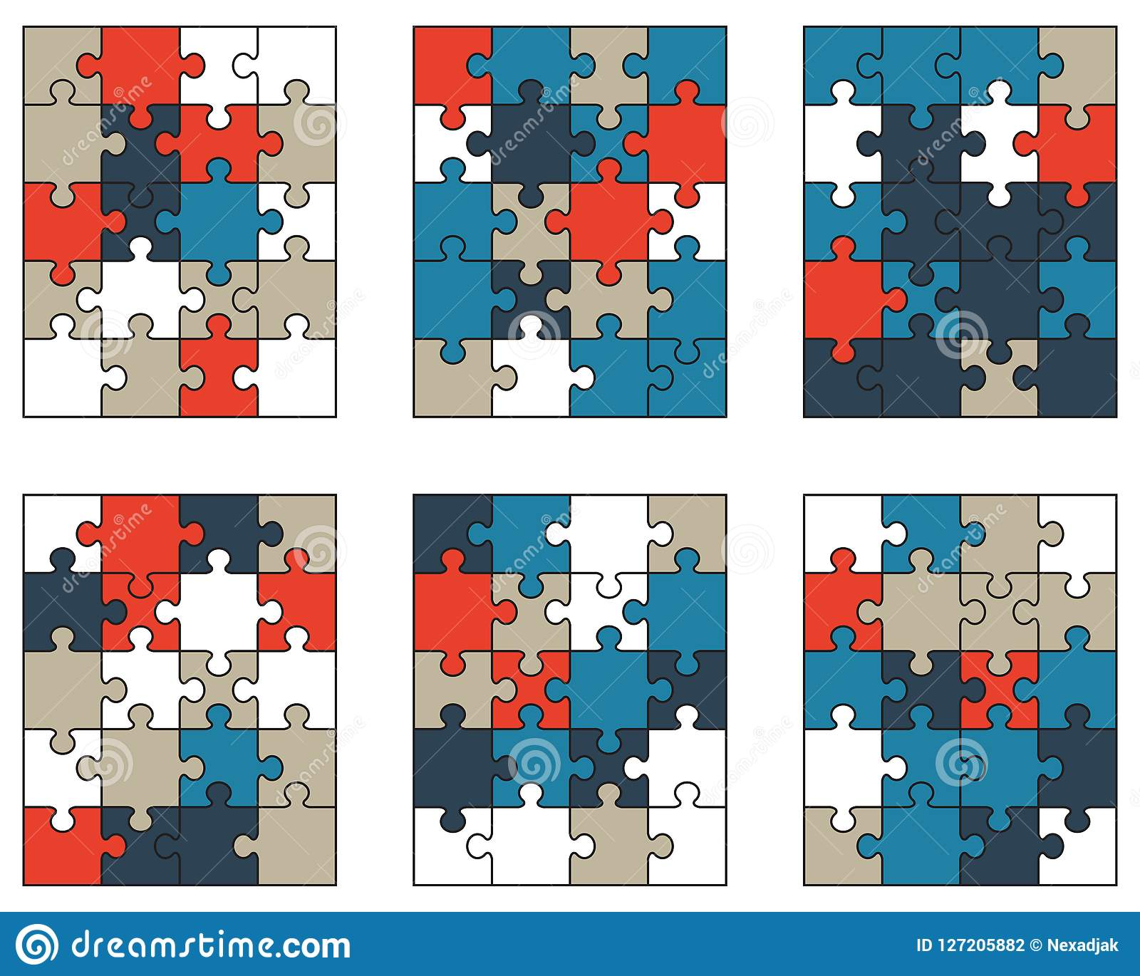 Bunte Puzzlespiele, lokalisierte Stücke