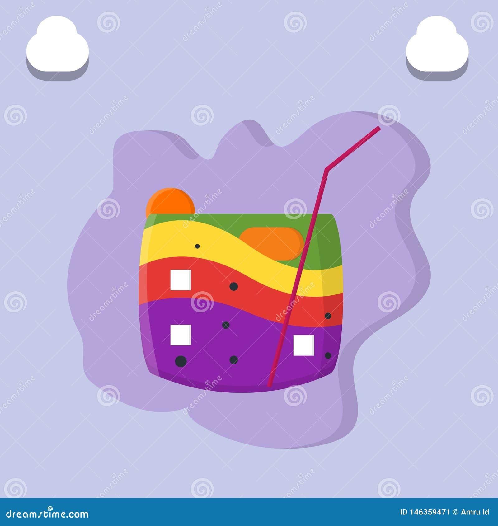 Bunte Regenbogen-Fruchtgetränke vereinbart auf Eis auf Glas- und Pipettenillustration - Vektor