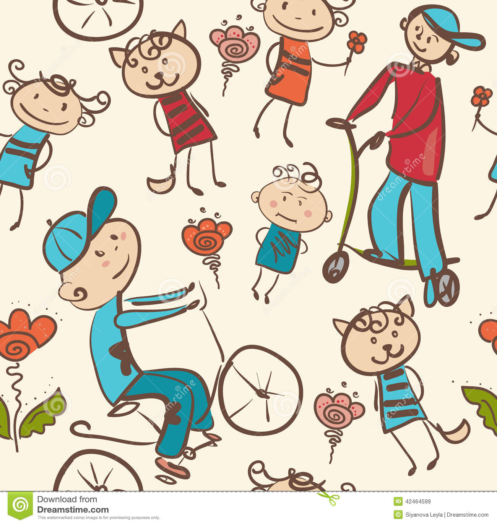 Bunte Skizze von Reitern eines Fahrrades und des Rollers in einem Park seamle