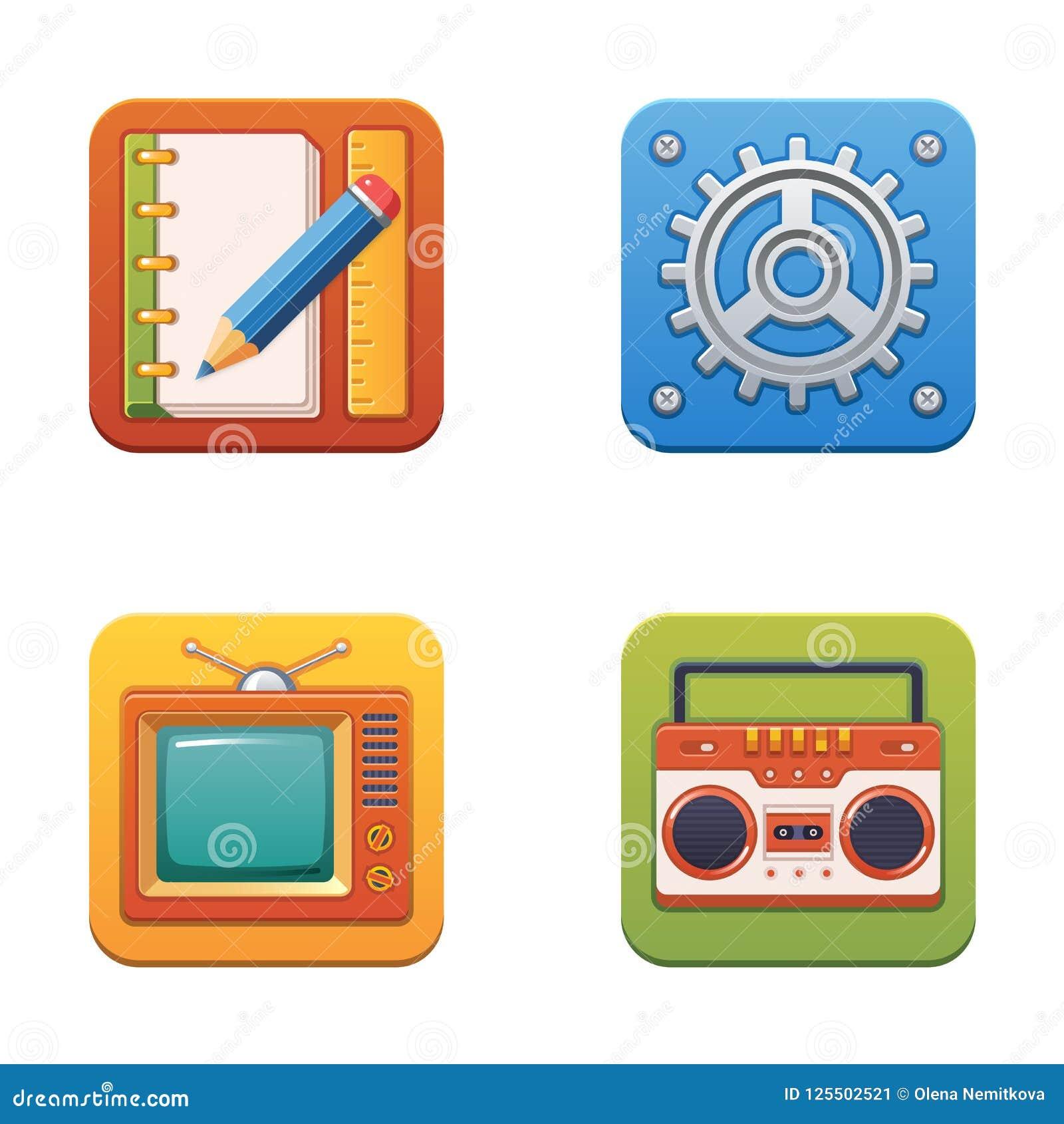 Bunte Technologieikonen für Netz und Drucken