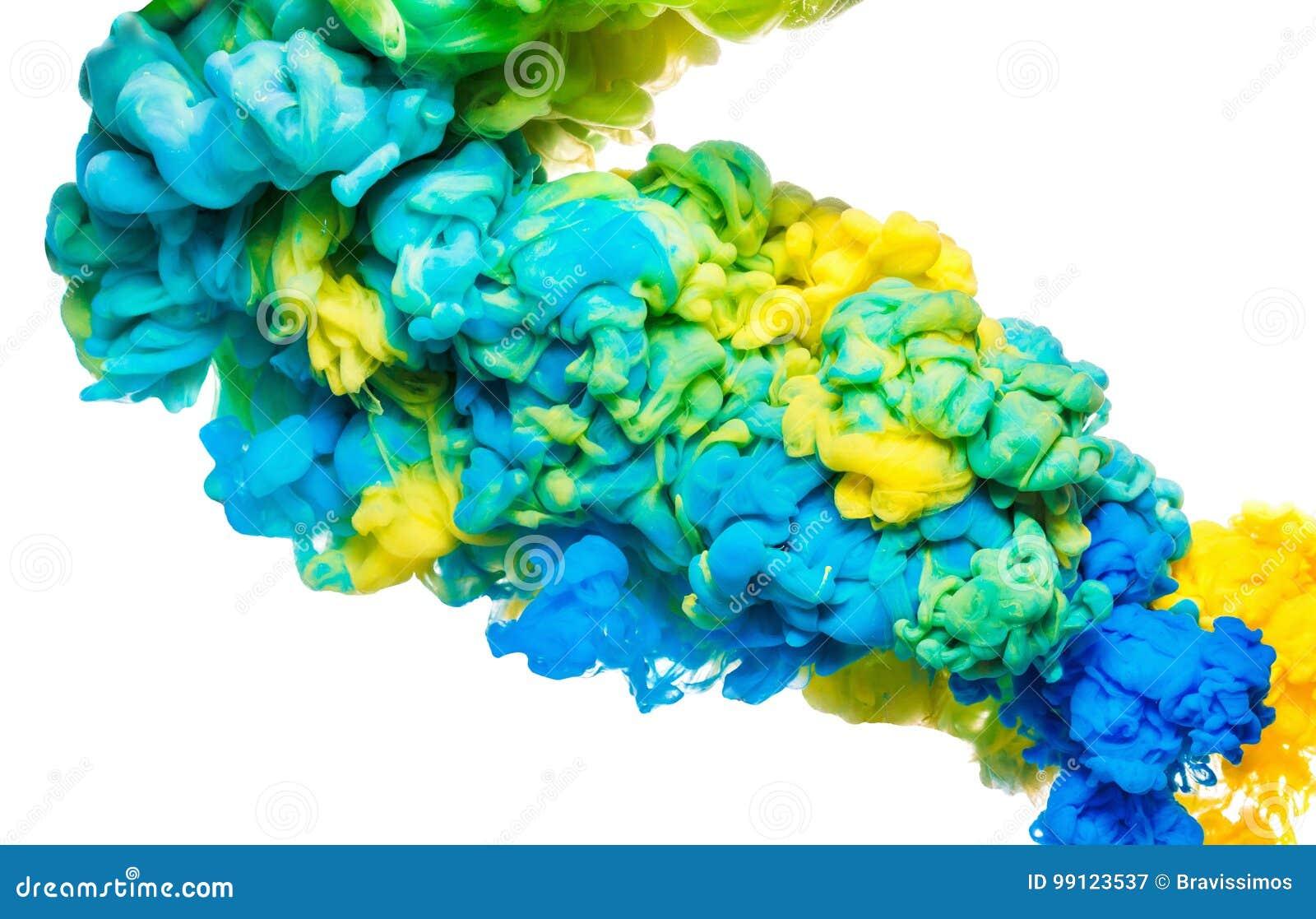Bunte Tinte im Wasser lokalisiert auf Weiß Abstrakter Acrylhintergrund Farbfarbenflüssigkeit