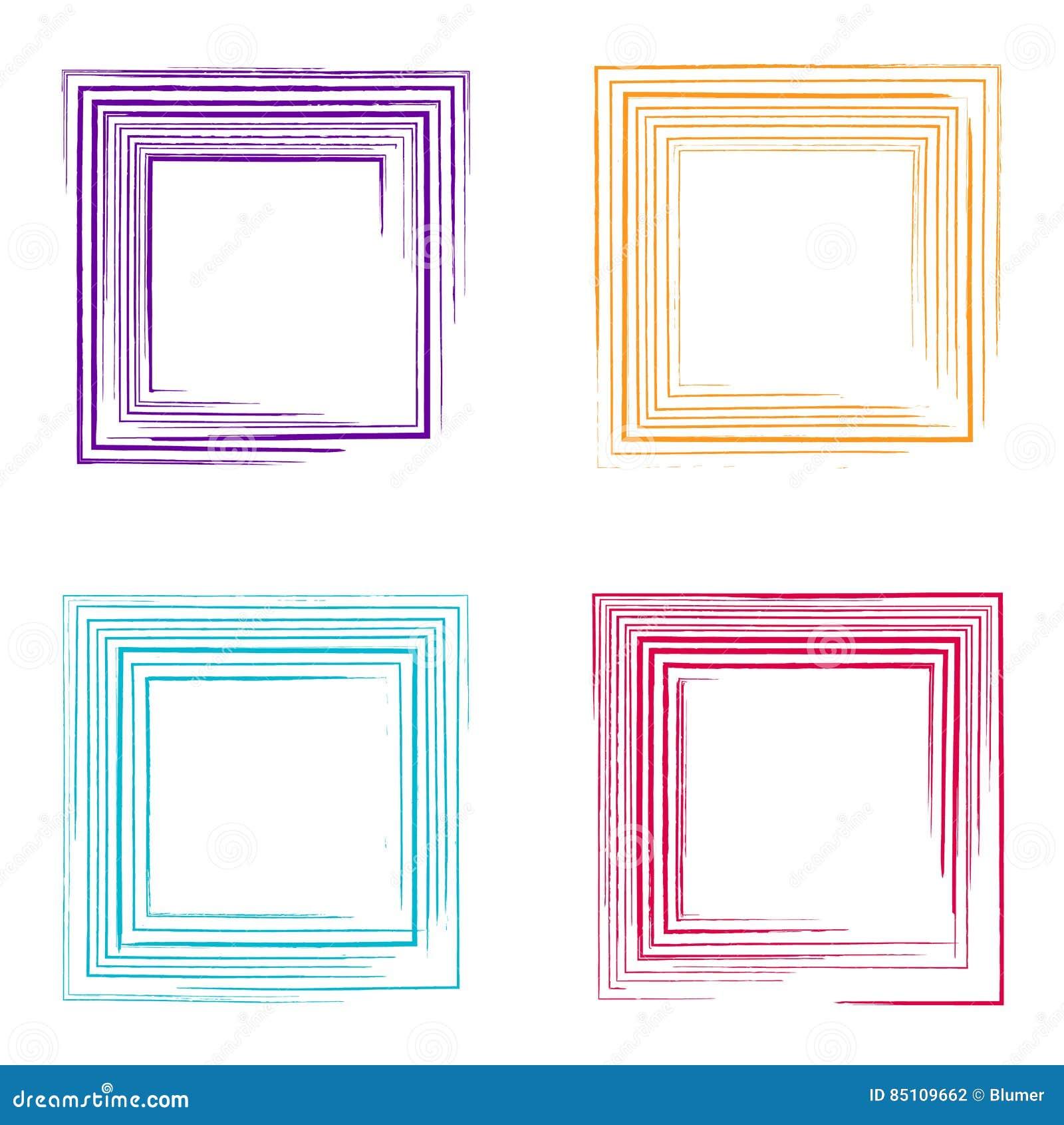 Bunte Vektorschmutz-Quadratrahmen Vektor Abbildung - Illustration ...