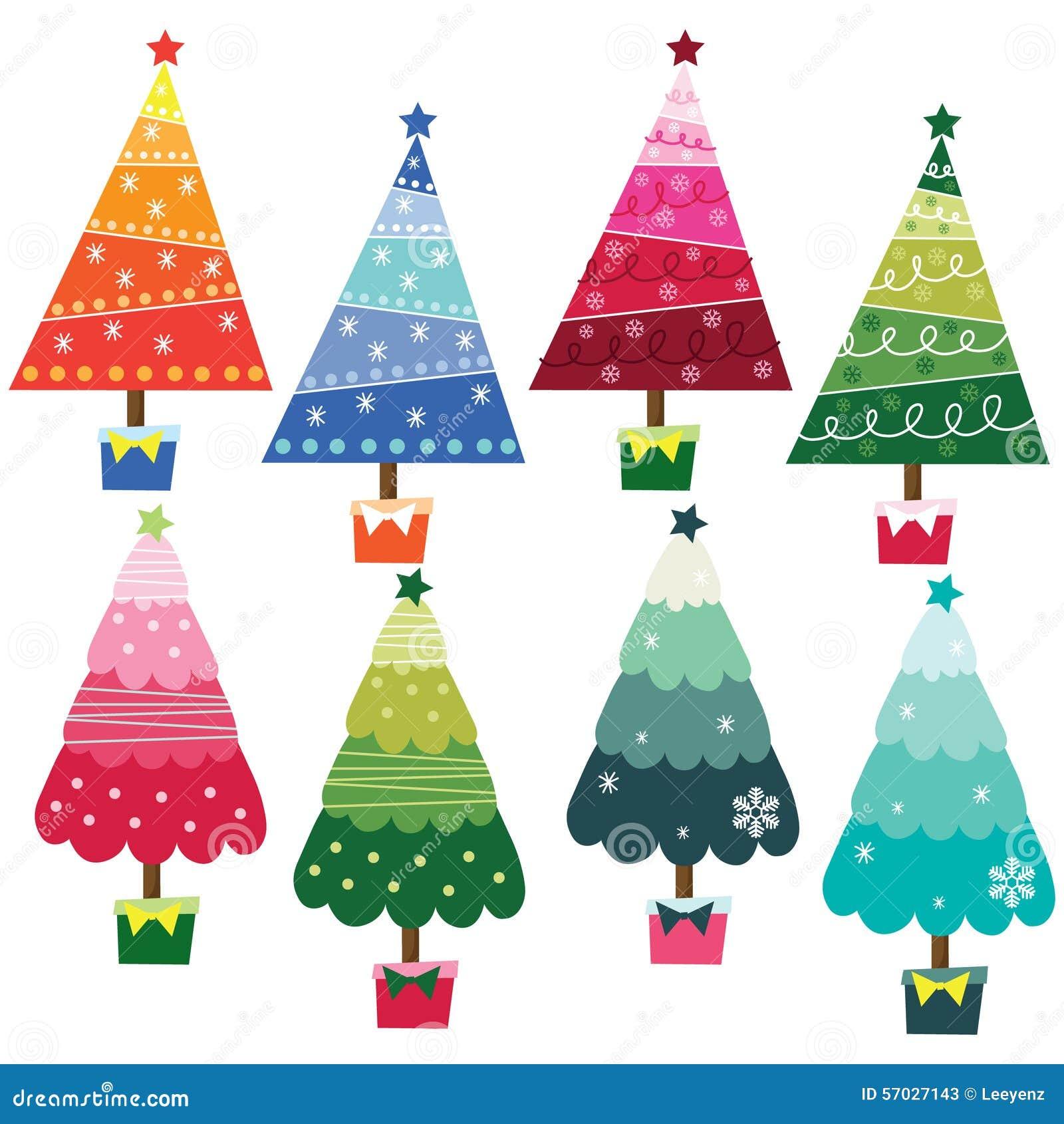 bunte weihnachtsb ume vektor abbildung bild 57027143. Black Bedroom Furniture Sets. Home Design Ideas