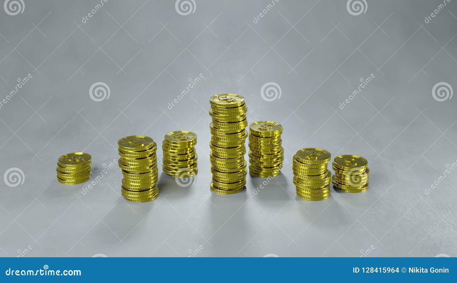Bunten av guld- mynt 3D framför