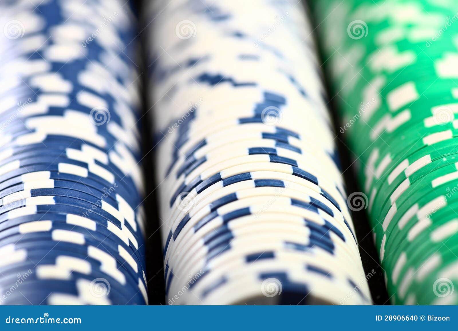 Bunten av poker gå i flisor