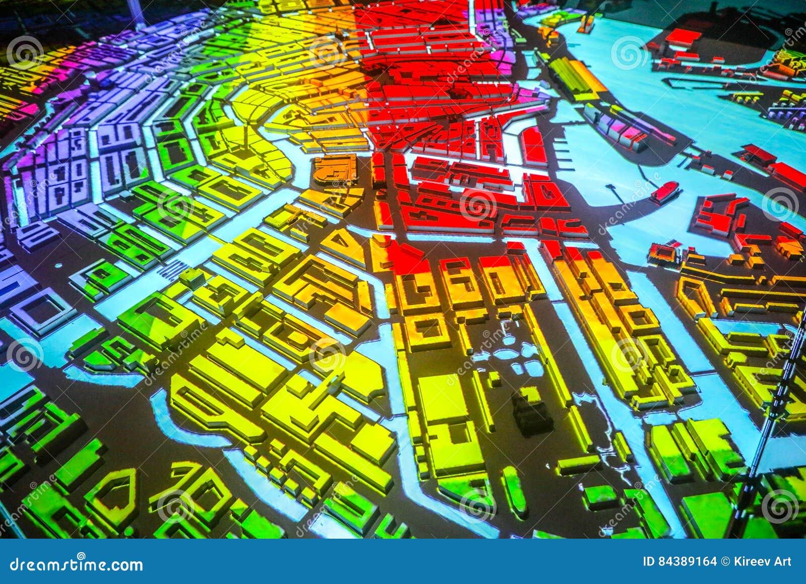 Bunter Abstrakter Amsterdam-Stadtplan In Der Perspektive Stock ...