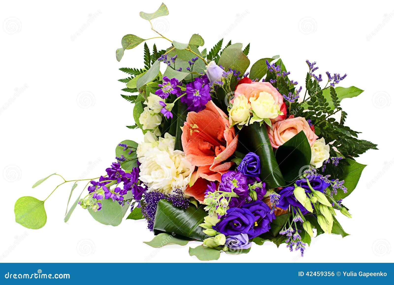 Bunter Blumenblumenstrauß getrennt auf Weiß