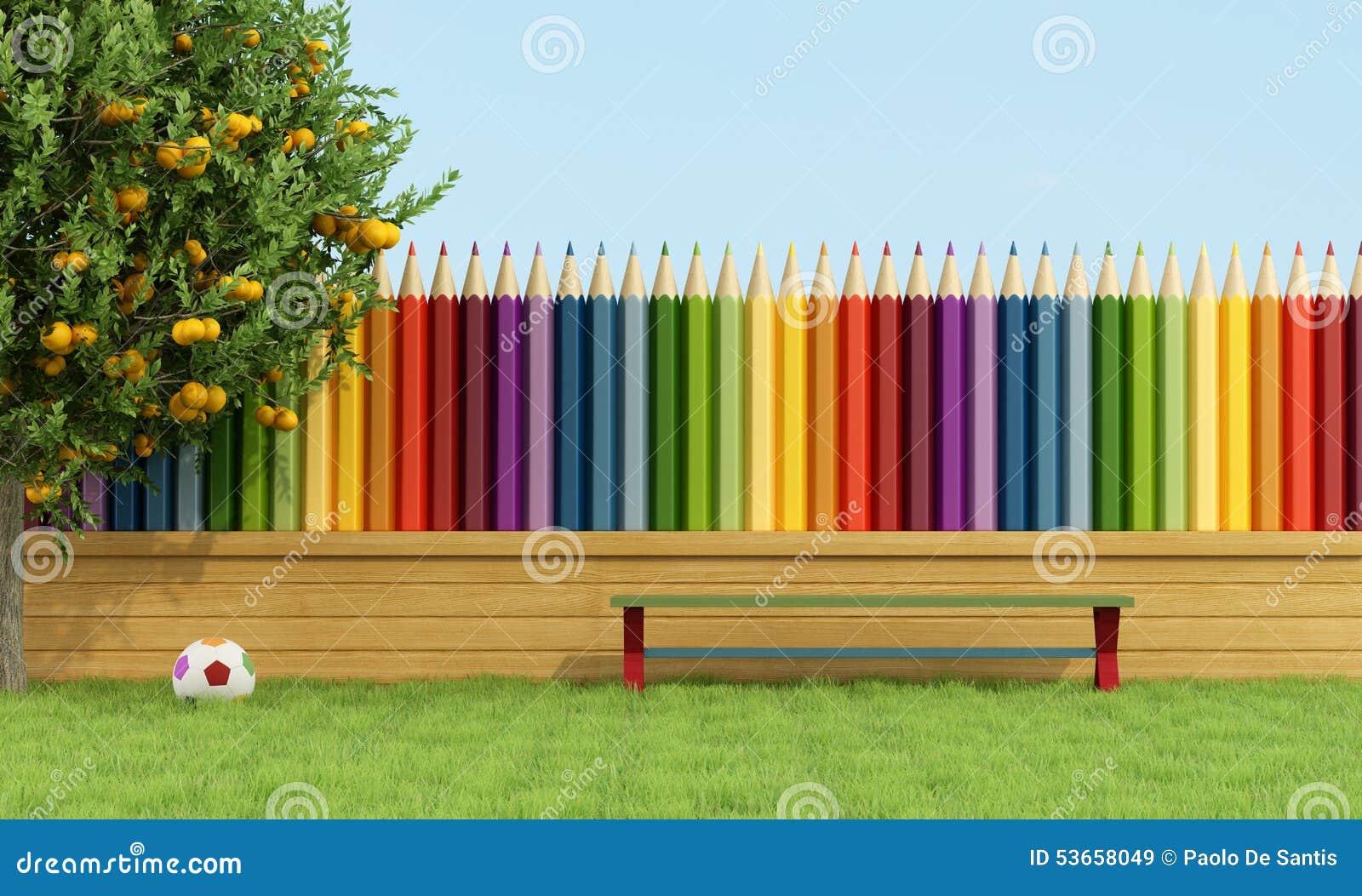 bunter garten f r kinder stock abbildung bild 53658049. Black Bedroom Furniture Sets. Home Design Ideas
