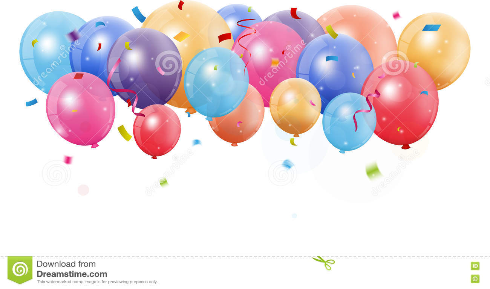 Bunter Geburtstagsballon Mit Konfettis Vektor Abbildung