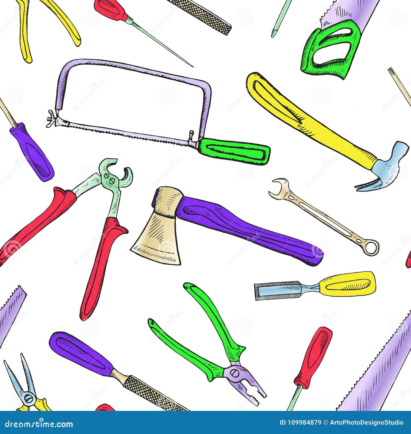 bunter handsaw, fertig werdene säge, meißel, bindeahle, hammer