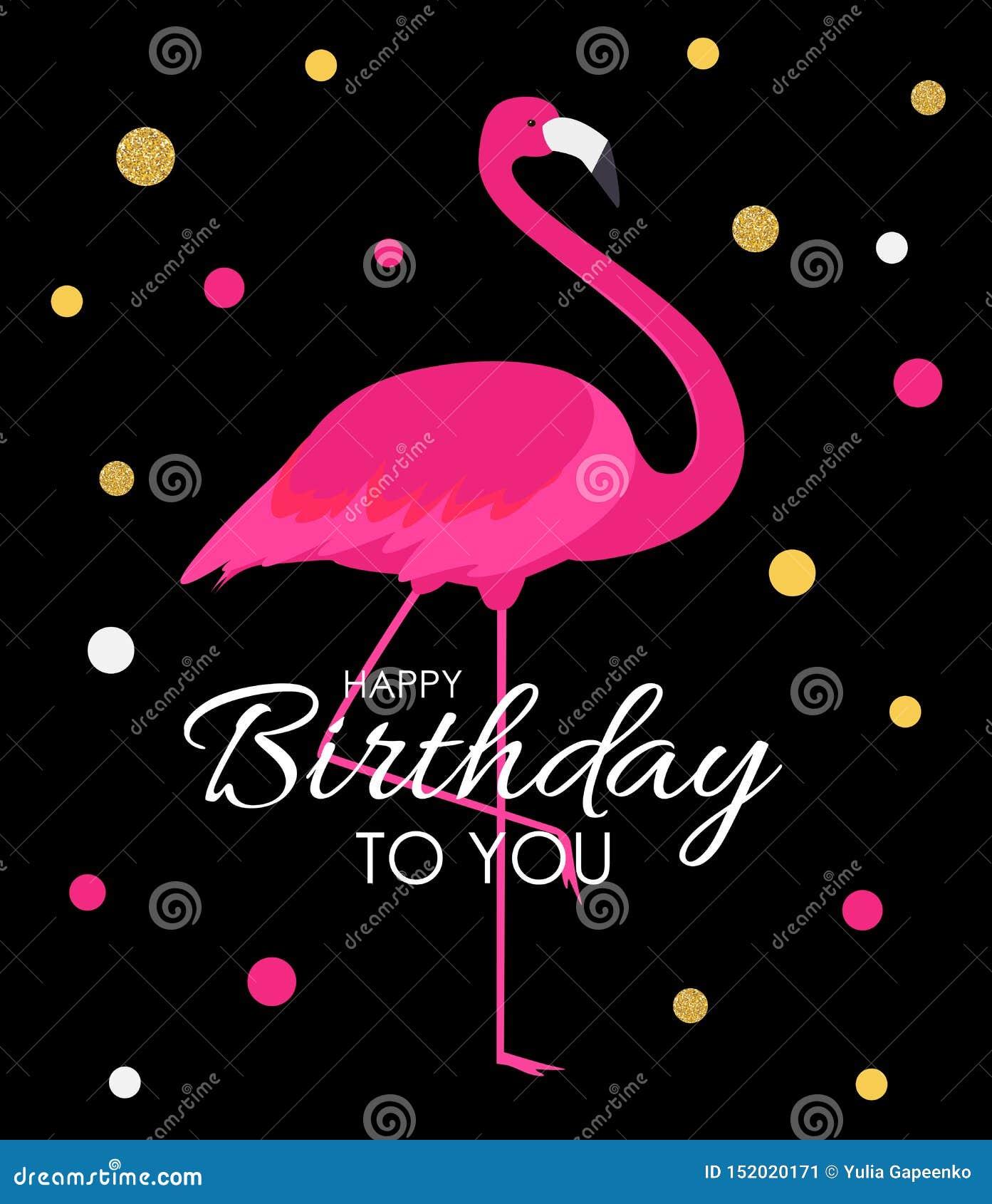 Bunter Karikatur Rosa-Flamingo auf einer schönen Hintergrundgrußkarte für Geburtstagsgrüße Abbildung