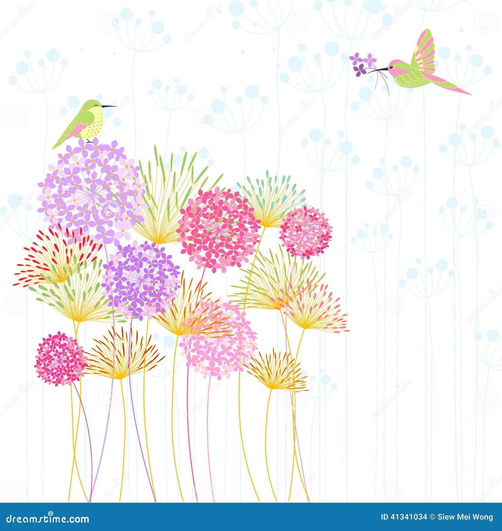 bunte blumen-vogel-gartenfest-einladung vektor abbildung - bild, Einladung