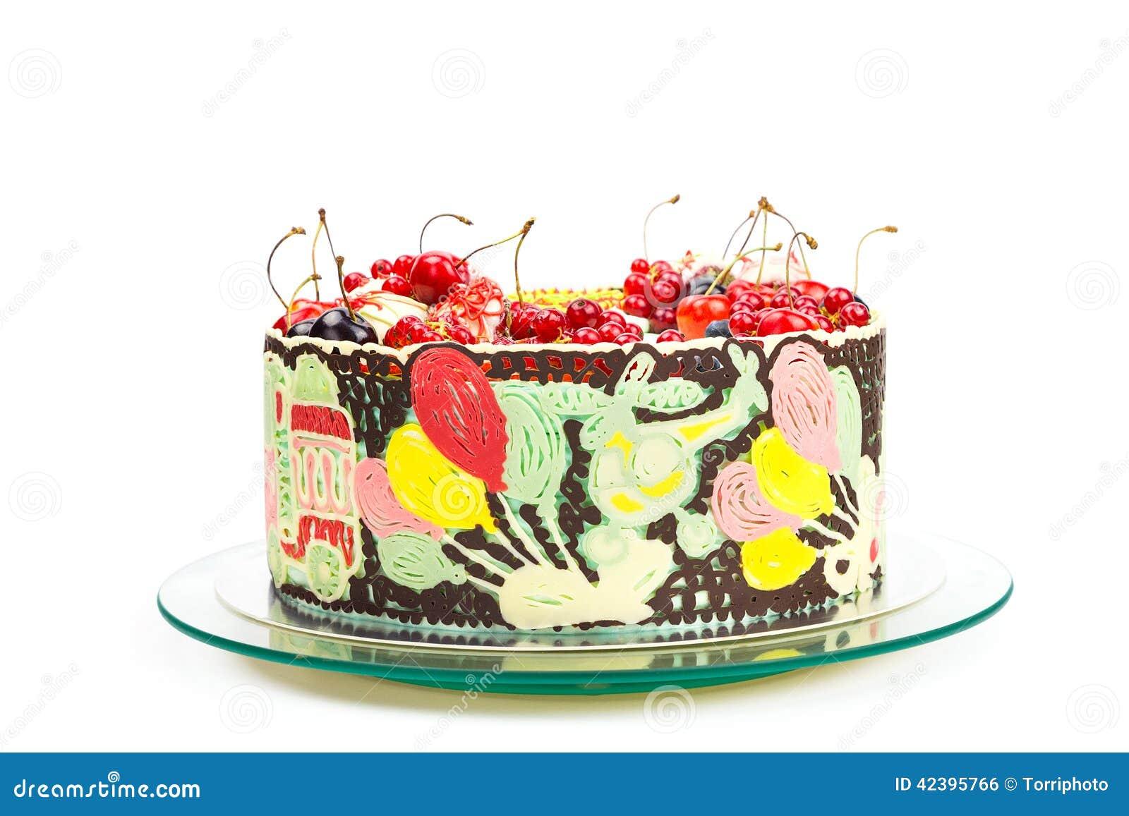Bunter Kuchen Fur Kinderpartei Stockfoto Bild Von Spass Auto 42395766