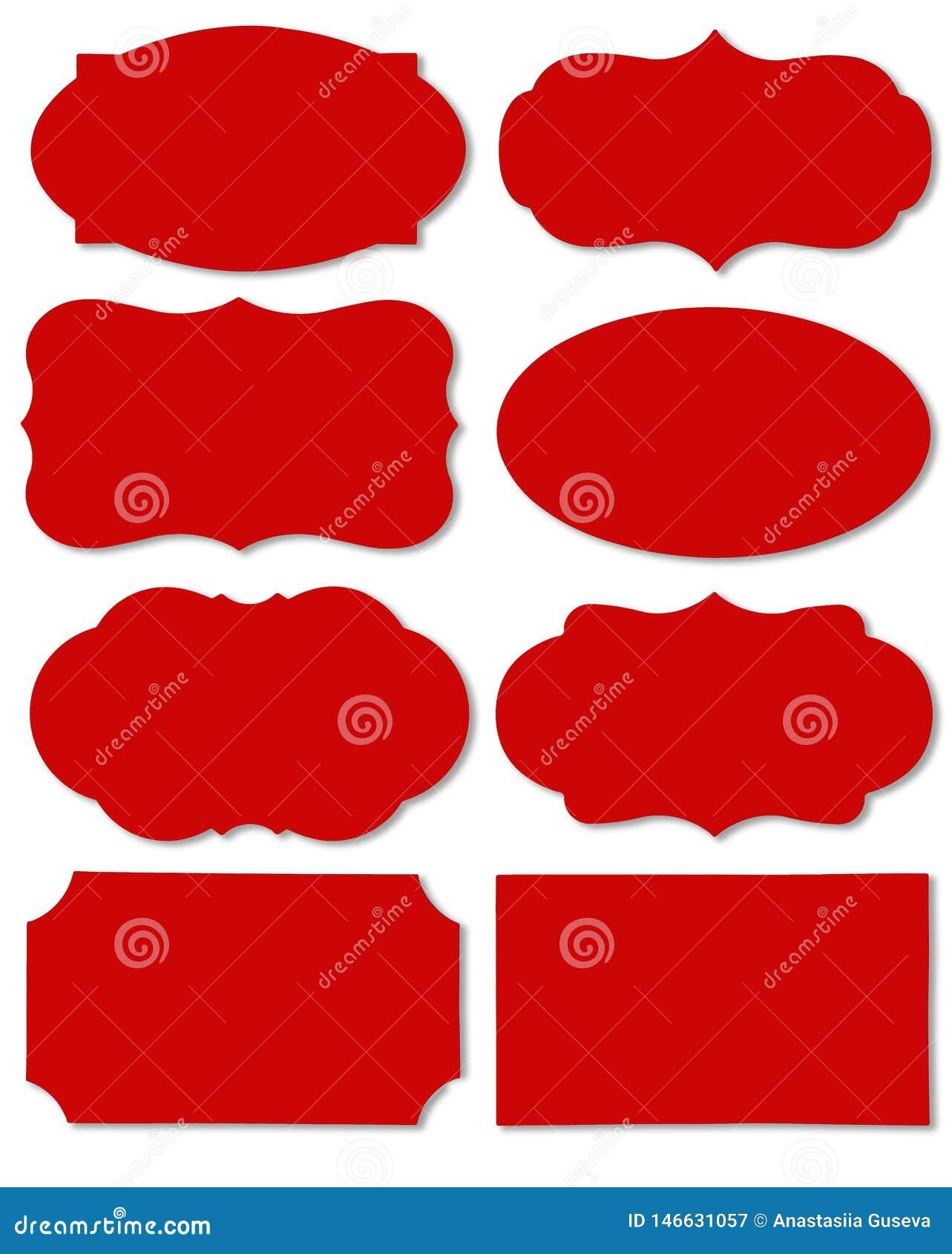 Bunter roter Satz der unterschiedlichen Spracheblase als Wolke lokalisiert auf leerem weißem Hintergrund