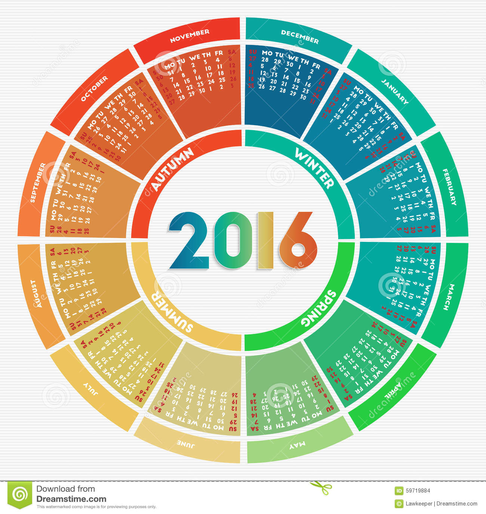 bunter runder kalender 2016 vektor abbildung. Black Bedroom Furniture Sets. Home Design Ideas