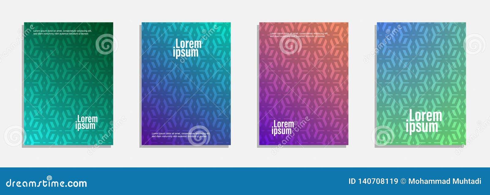 Bunter und moderner Abdeckungsentwurf Stellen Sie vom geometrischen Musterhintergrund ein