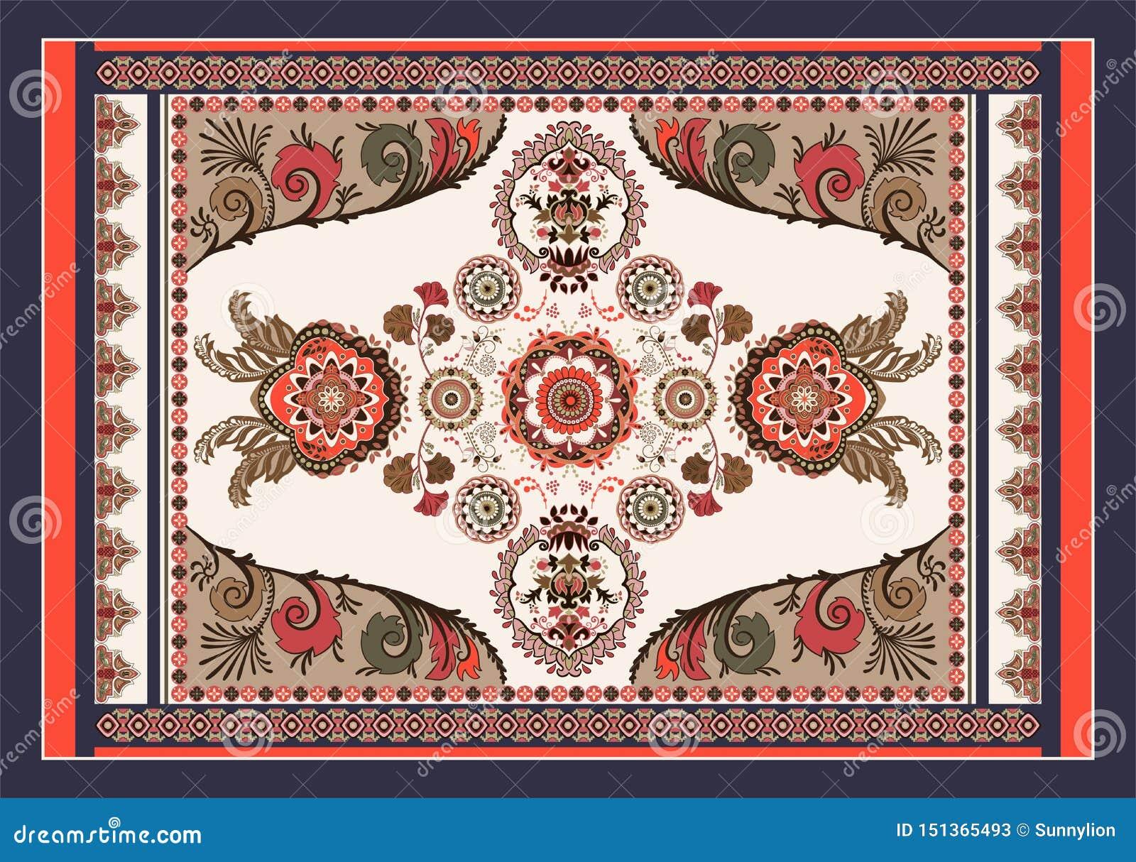 Bunter ungarischer Vektorentwurf f?r Wolldecke, Tuch, Teppich, Gewebe, Gewebe, Abdeckung Helles stilisiertes mit Blumendekorative