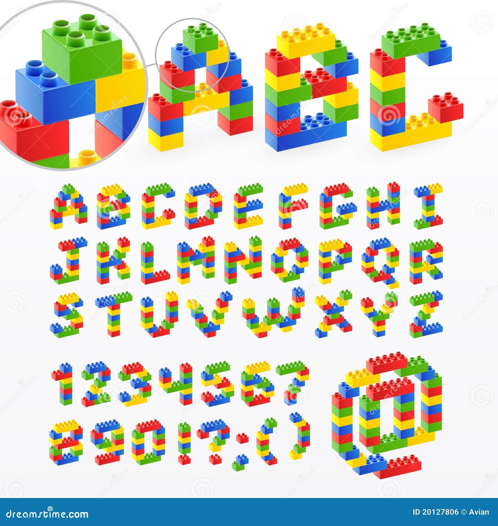 Bunter Ziegelstein spielt Schrifttyp mit Zahlen