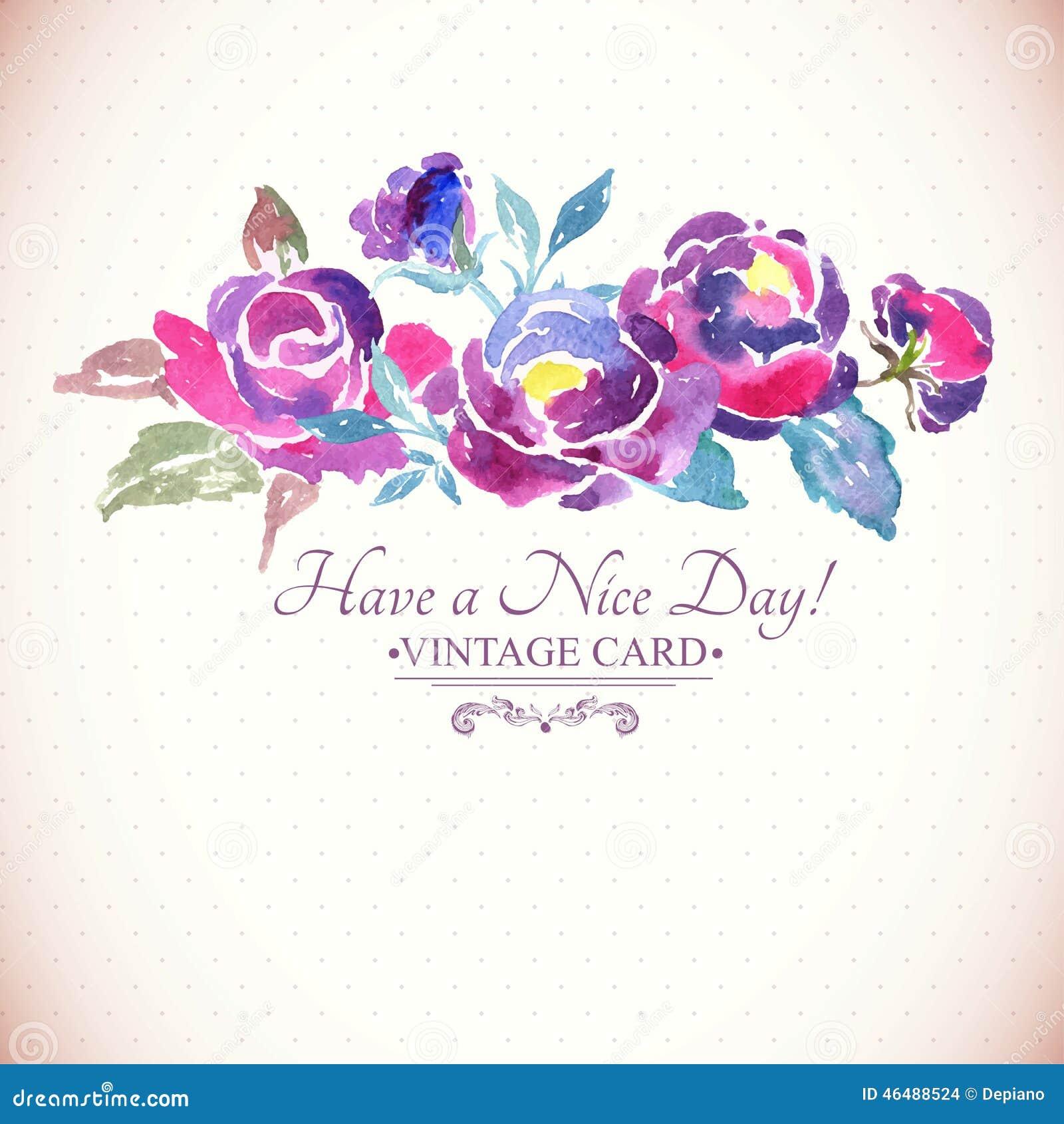 Buntes Aquarell Rose Floral Greeting Card