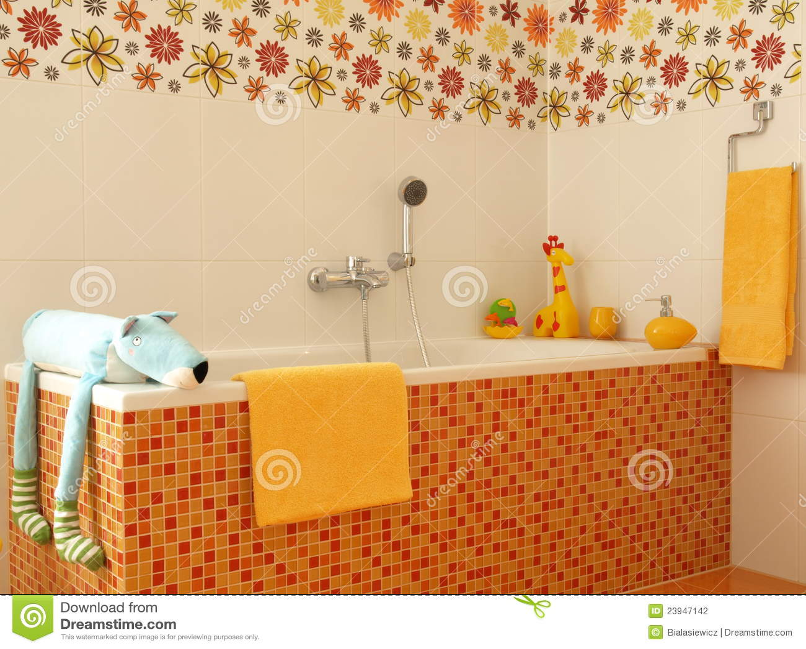 Buntes Badezimmer Der Kinder. Stockfotografie
